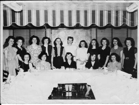 Theresa, Ginnie, Cousin Marion, Mom, Millie & Betty Jean Fletcher Millie's Shower '47